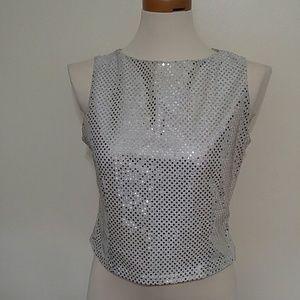Silver sparkle mirror top